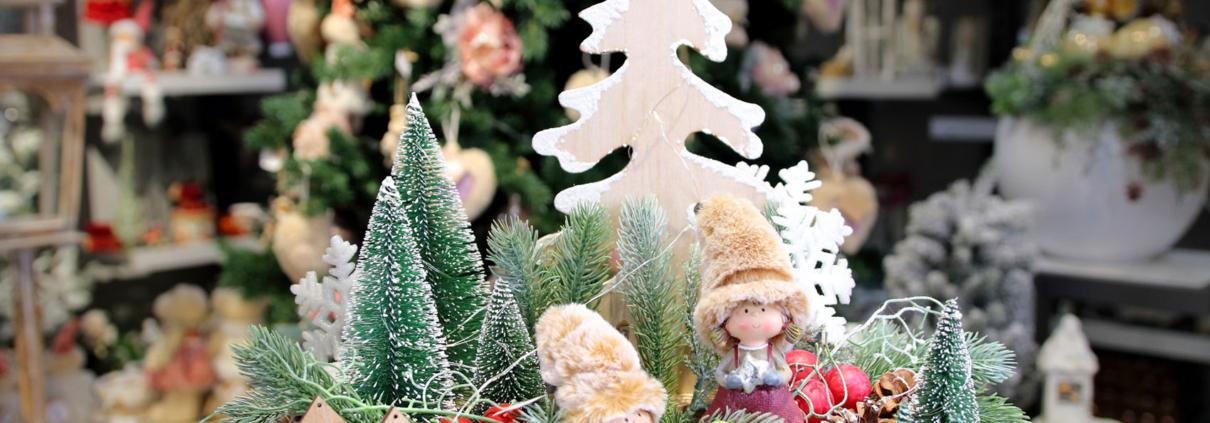 Vianočná ikebana-krajinka s postavičkami