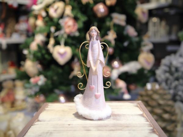 Rúžový keramický anjel so zlatými krídlami