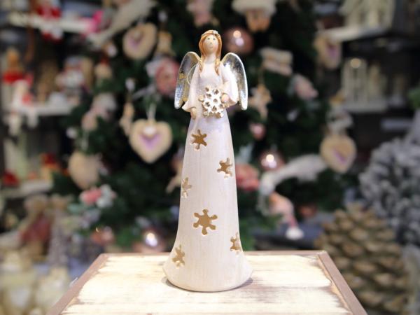 Keramický krémovy anjelik-svietiaci