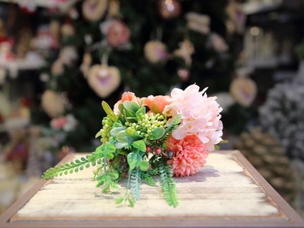 Umelá kytica-mini ruža, hortenzia, chryzanthéna