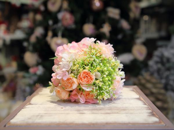 Umelá kytica-hortenzia a mini ruža