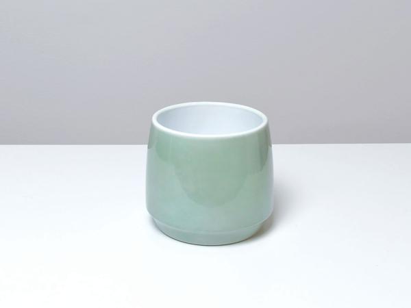 Zelený keramický kvetináč